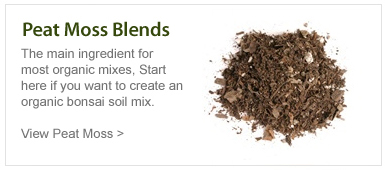 Peat moss blends. The main ingredient for most organic mixes. Start here if you want to create an organic bonsai soil mix.