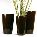 Slim Brown Ceramic Planter