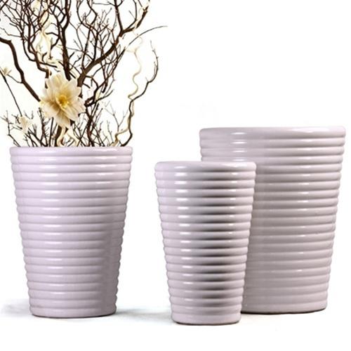 White Coil Ceramic Planters