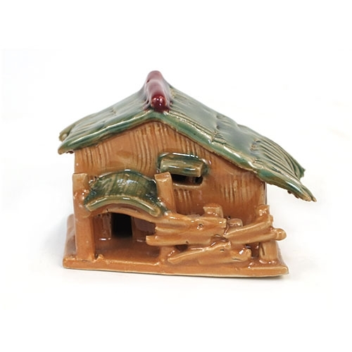 Large Painted Hut 2'' Figurine