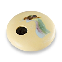 Ikebana Vase Round Yellow Wave - Small