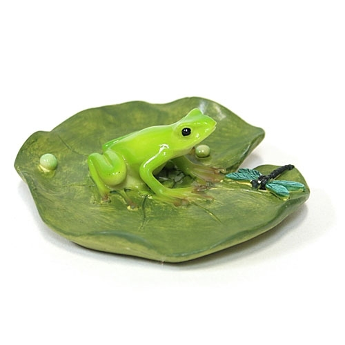 Frog and Dragonfly on Lotus Leaf