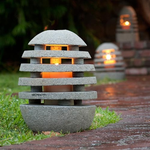 Stone shade garden lantern for Japanese landscape lanterns