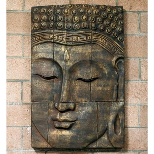 large relief buddha face wall decor. Black Bedroom Furniture Sets. Home Design Ideas