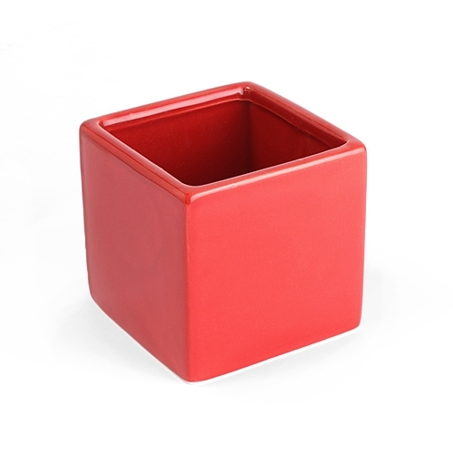 Modern Square Red 3.25'' Pot