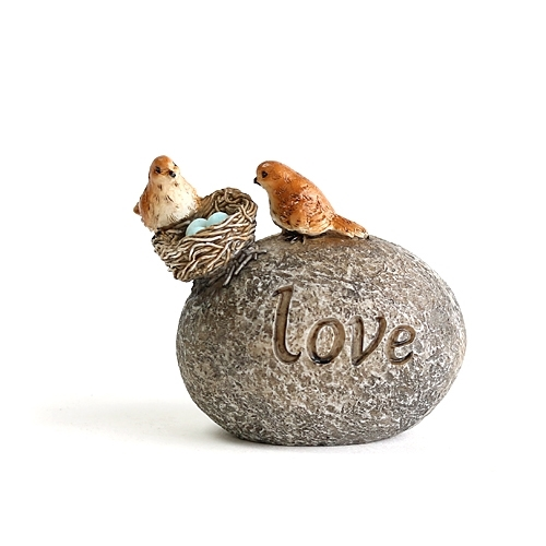 "Bird Family on ""Love"" Stone"