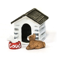 Mini Doghouse with Dog