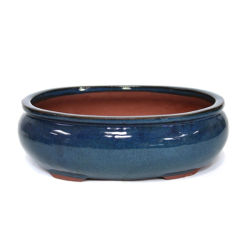 "12"" Blue Oval Pot"