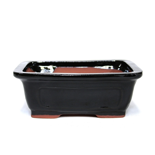 "8"" Black Traditional Rectangle Pot"