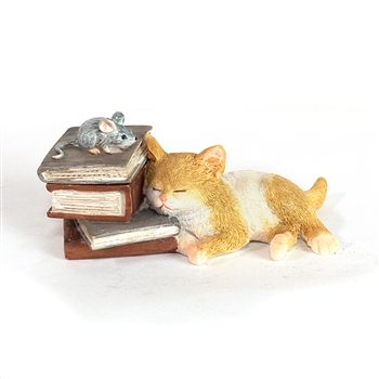 Kitty Napping on Books Trinket Box Figurine