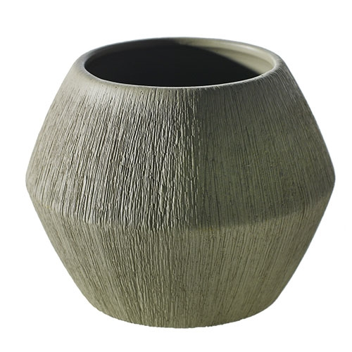 "4"" Brushed Geometric Vase"
