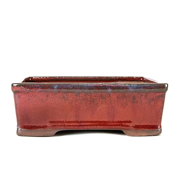 "8.5"" Red Modern Rectangle Pot"