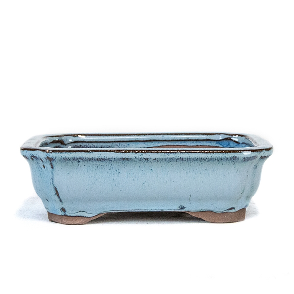 "6"" Light Blue Rectangle Lotus Pot"