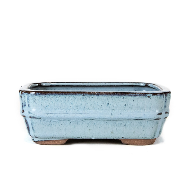"6.25"" Light Blue Banded Rectangle Pot"