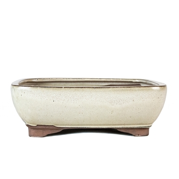 "8.5"" Beige Rounded Rectangle Pot"