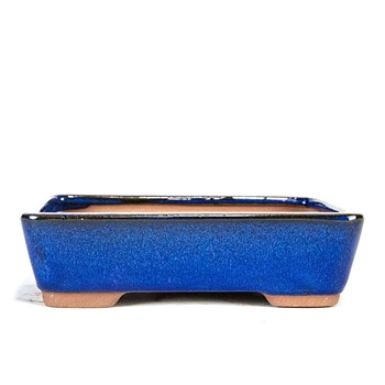 "8"" Blue Tapered Rectangle Pot"