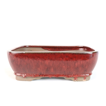 "12.5"" Red Multi Rounded Rectangle Pot"