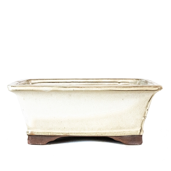 "8"" Tall Footed Rectangle Beige Pot"