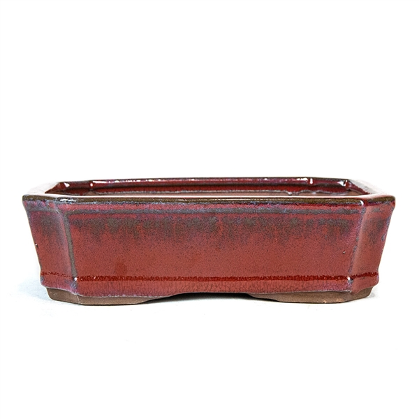 "8.5"" Indented Corner Rectangle Red Pot"
