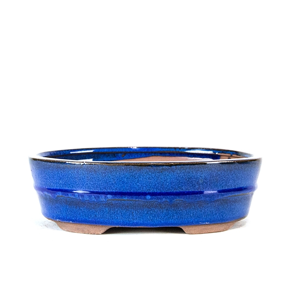 "8.5"" Blue Banded Oval Pot"