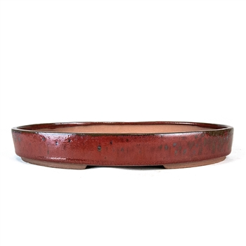 "12.25"" Red Oval Dish Pot"