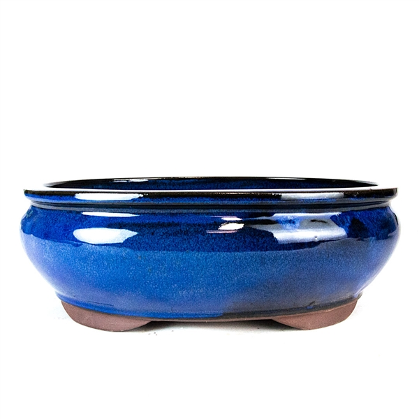 "12"" Blue Tall Oval Pot"