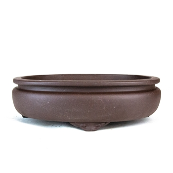 "10"" Handmade Unglazed Footed Oval Pot"