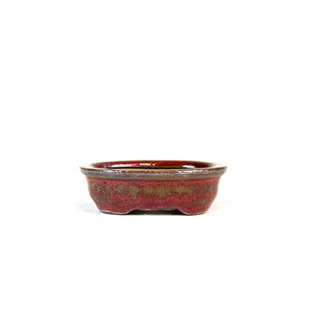 "3"" Red Oval Mame Pot"