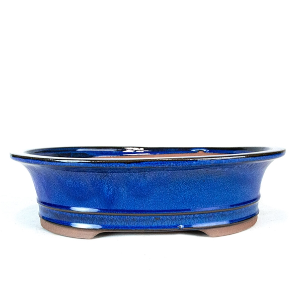 "12"" Blue Flared Oval Pot"