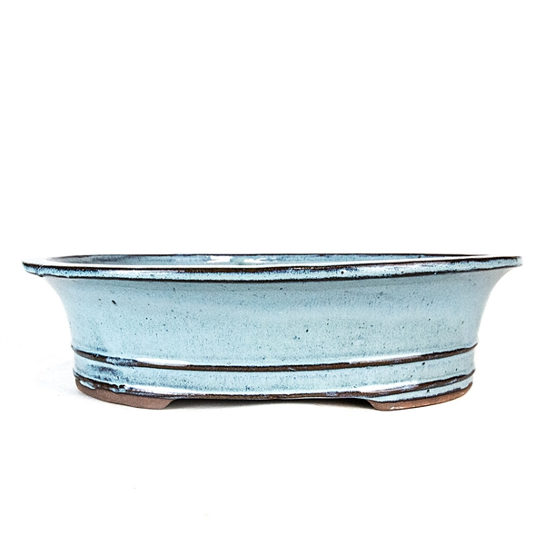 "12"" Light Blue Flared Oval Pot"