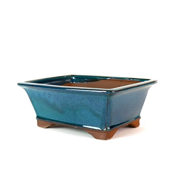 "8"" Teal Tall Footed Rectangle Pot"
