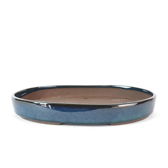 "12.5"" Medium Blue Oval Tray Pot"
