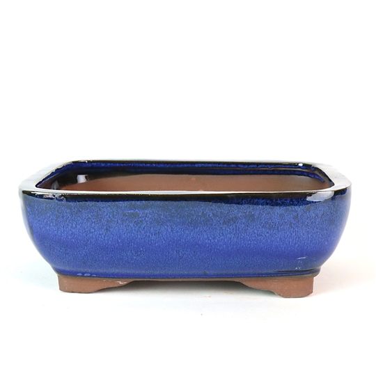"8.5"" Blue Rounded Rectangle Pot"