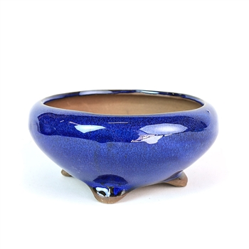 "5"" Blue Round Footed Shohin Pot"