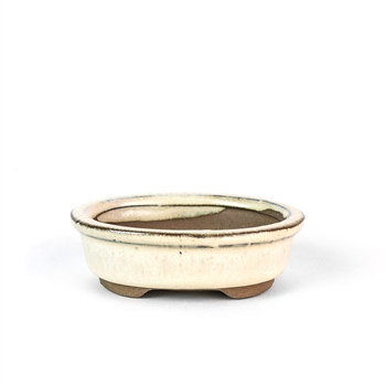 "3"" Beige Oval Mame Pot"