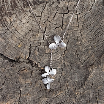 Silver Triple Orchid Drop Necklace