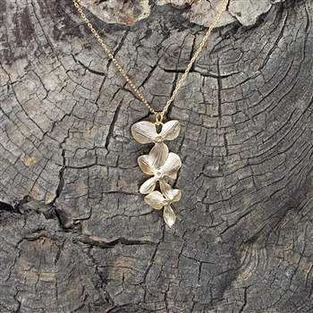 Gold Triple Orchid Pendant Necklace