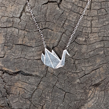 Silver Origami Crane Necklace