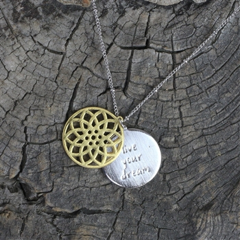 Hidden Message Floral Pendant Necklace - Live Your Dream