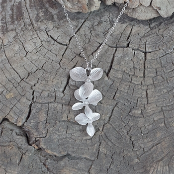 Silver Triple Orchid Pendant Necklace