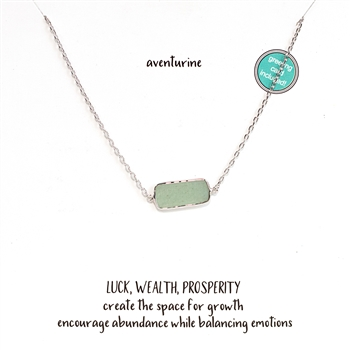 Aventurine Stoneflake Bar Necklace