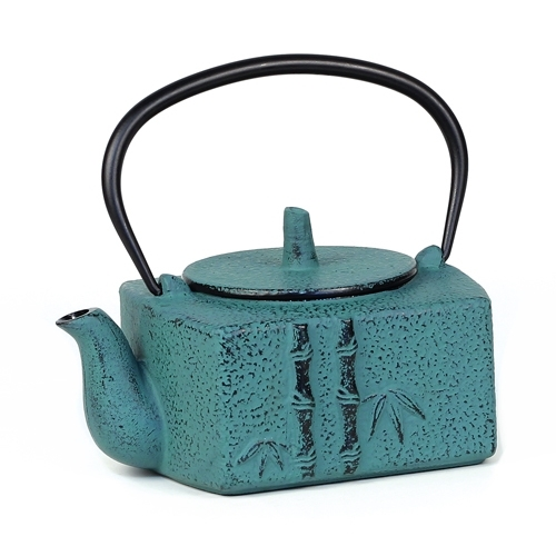 Square 24 fl oz Bamboo Cast Iron Teapot