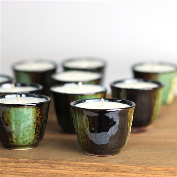Green Sake Cup Candle Favor
